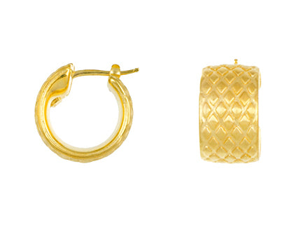18K Gold Textured Hoop Earrings