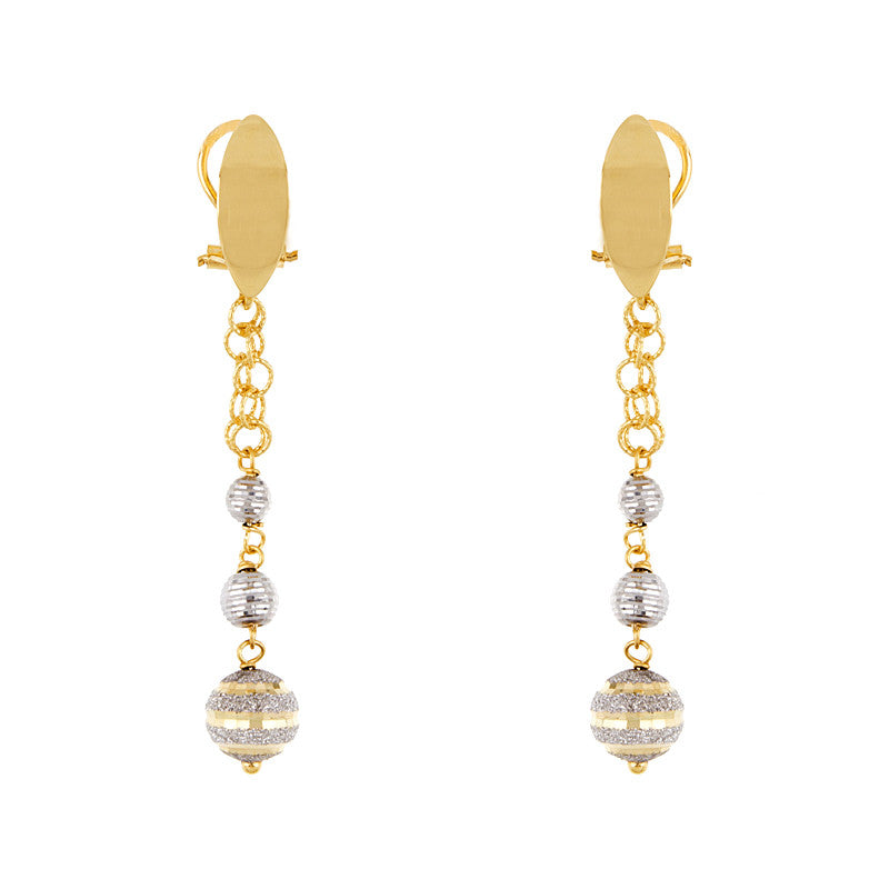 Gold Ball Drop Earrings, SOLD