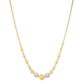 18K Yellow and White Gold Textured Bead Necklace