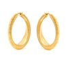 18K Textured Gold Hoops