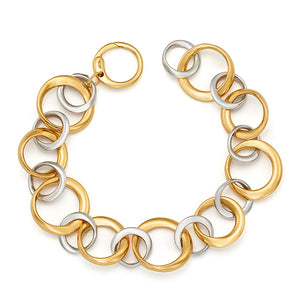 18k Yellow and White Gold Link Bracelet, SOLD