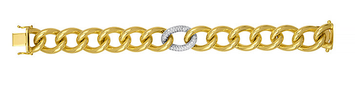 18K Gold Link and Diamond Bracelet