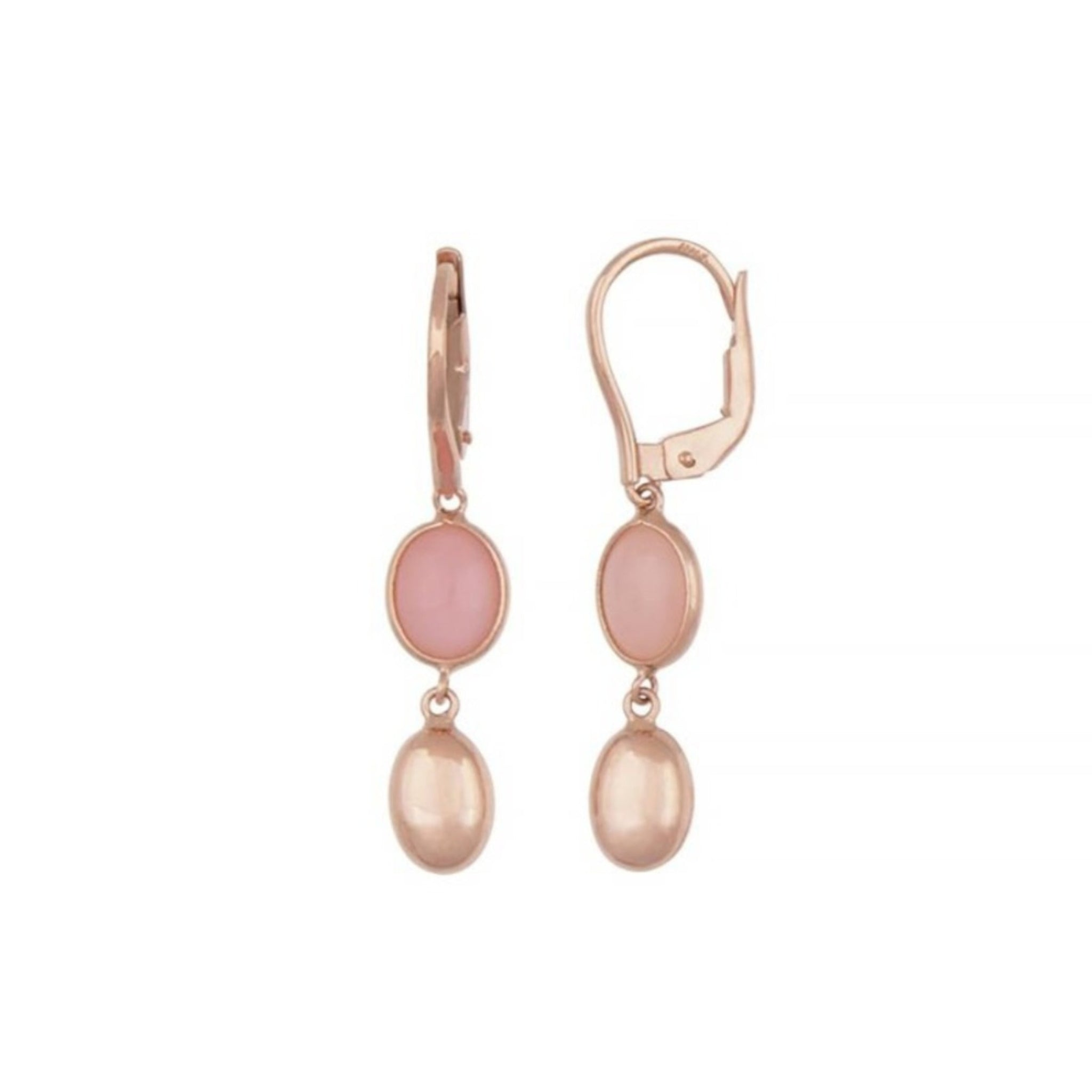 Rose Gold Pink Opal Earrings