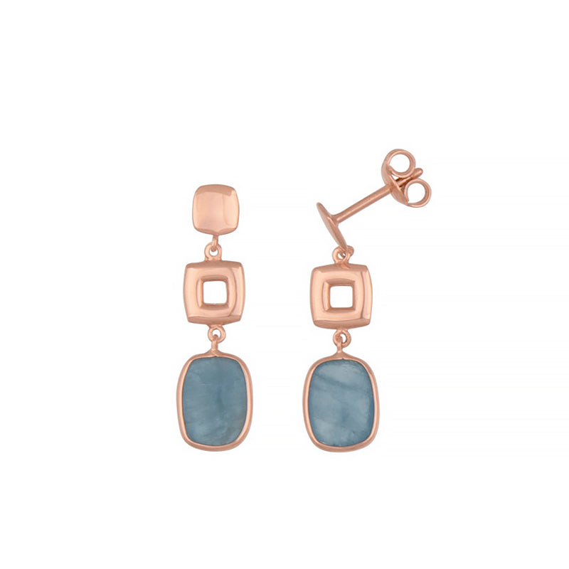 Rose Gold Aqua Earrings