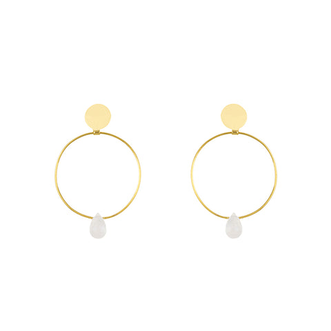 18K Gold Moonstone Earrings