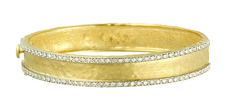Italian Hammered Gold Diamond Cuff, SOLD