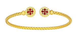 18K Gold Cuff Bracelet with Red Enamel, SOLD