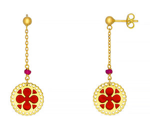 18k Yellow Gold Earrings with Red Enamel, SOLD