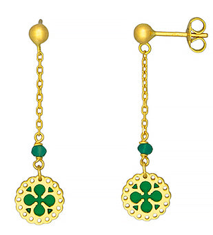 18K Gold Earrings with Green Enamel, SALE, SOLD