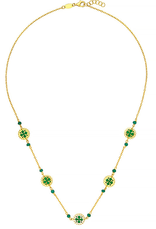 18k Gold Necklace with Green Enamel,SOLD