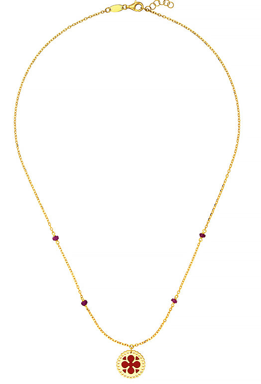 18K Gold Necklace with Red Enamel, SOLD