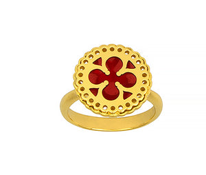 18K Gold Ring with Red Enamel, SOLD