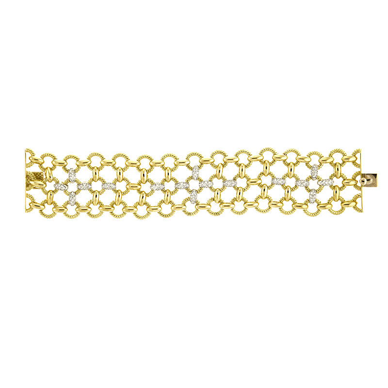 18K Gold Link Bracelet with Diamonds