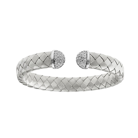 18k White Gold Woven Cuff Bracelet with Diamonds