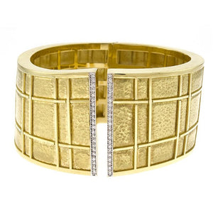 18K Gold Hammered Cuff Bracelet with Diamonds