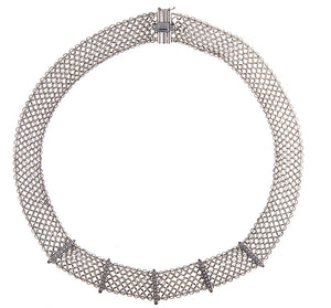 18K White Gold Mesh Diamond Necklace