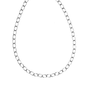 18K White Gold Solid Oval Chain