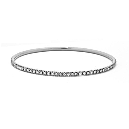 18k Yellow or White Gold Slip On Diamond Bracelet