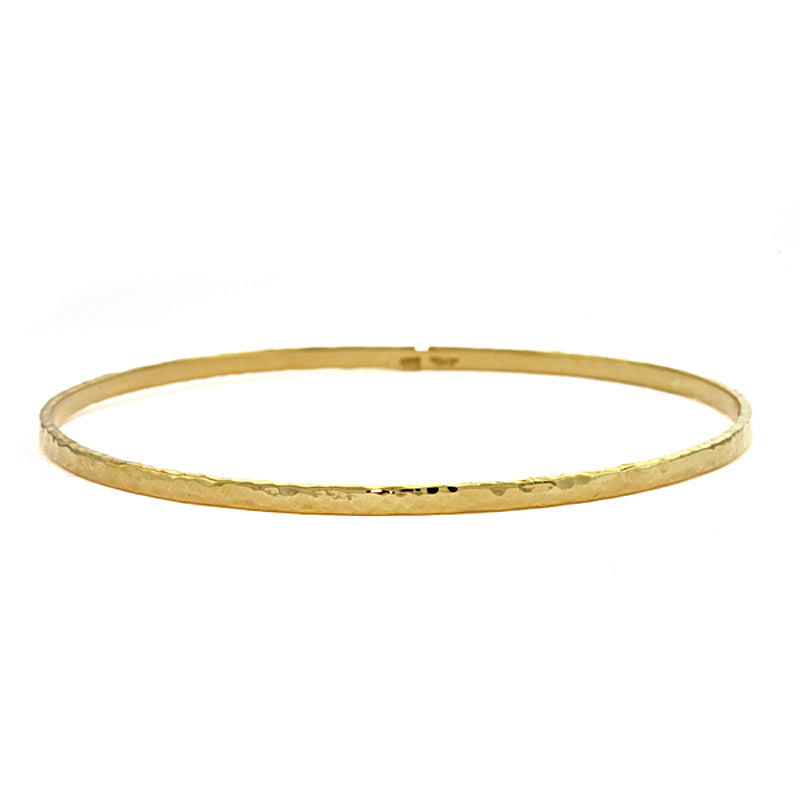 18K Yellow Gold Hammered Bangle Bracelet