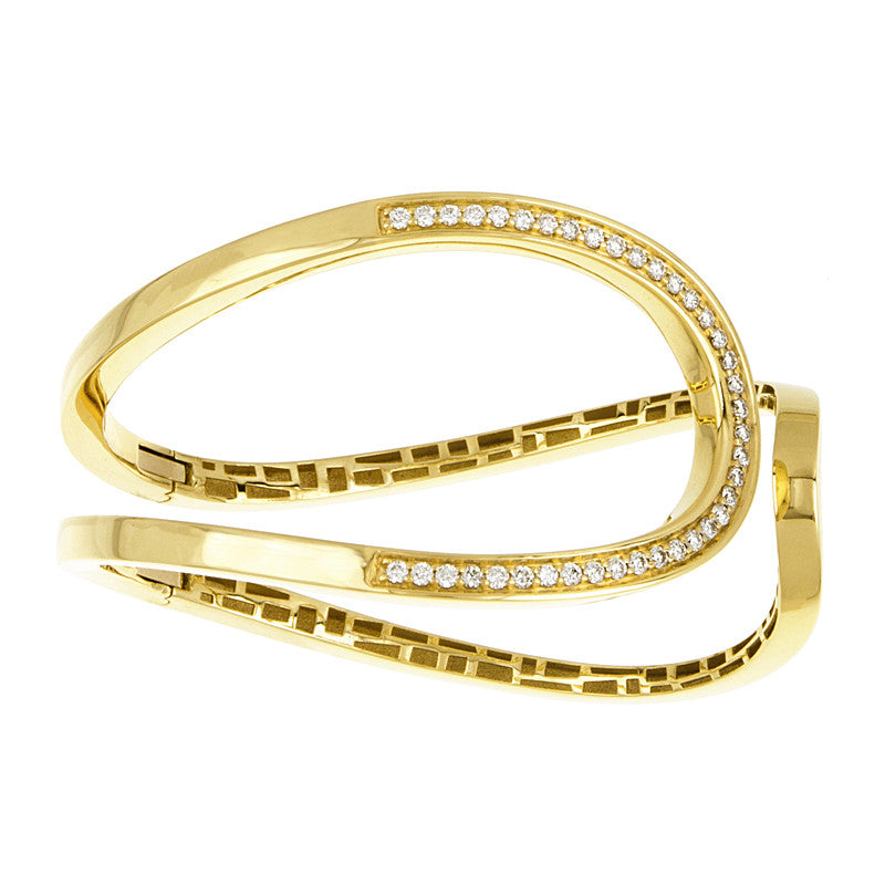 18K Gold Diamond Open Wave Cuff Bracelet