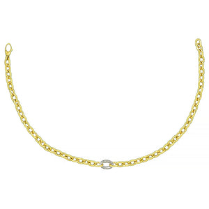 18K Gold Chain with Diamond Link