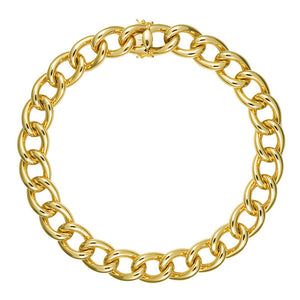 Italian 18K Yellow Gold Wide Link Necklace