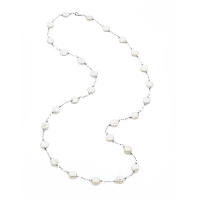 Sterling Silver Cultured Coin Pearl Necklace