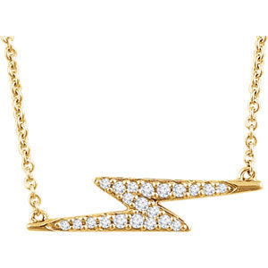 14K Diamond Lightening Bolt Pendant