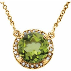 Peridot and Diamond Pendant Necklace