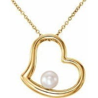 Gold Heart with Cultured Pearl Necklace