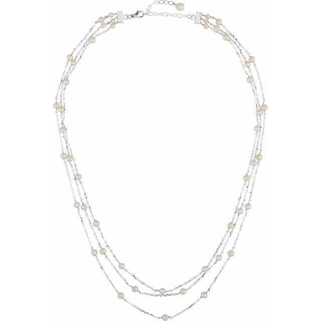 Sterling Silver Multi-Strand Pearl Necklace
