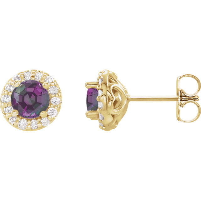Gold Alexandrite and Diamond Earrings