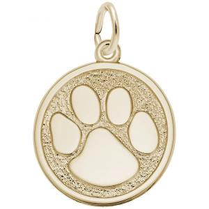 14k Gold Dog Paw Print Charm
