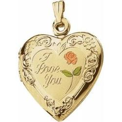 Gold Heart Locket with Enameled Rose