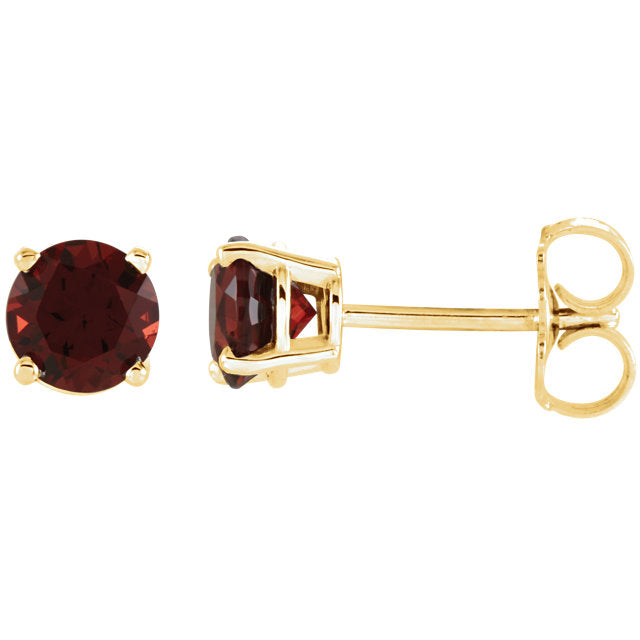Yellow Gold  or White Gold Garnet Earrings
