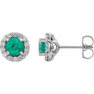 White Gold Emerald and Diamond Earrings, SALE