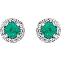 White Gold Emerald and Diamond Earrings