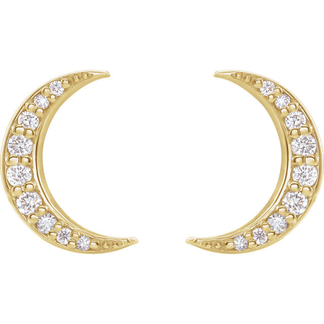 Yellow, Rose or White Gold Diamond Crescent Moon Earrings