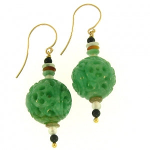 Natural Carved Jade Earrings