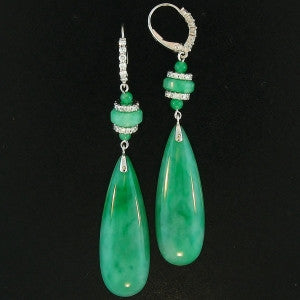 Natural Jade Earrings with Diamonds