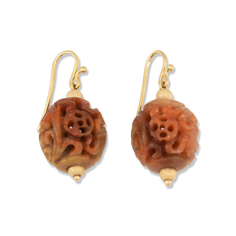 Natural Jade Carved Earrings, SOLD
