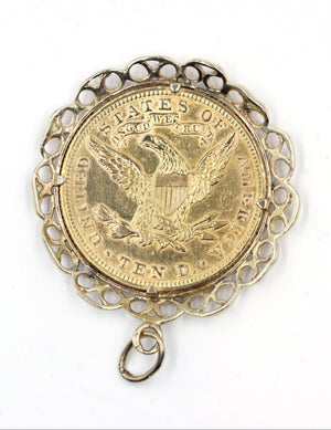 Vintage Gold Coin Pendant, SOLD