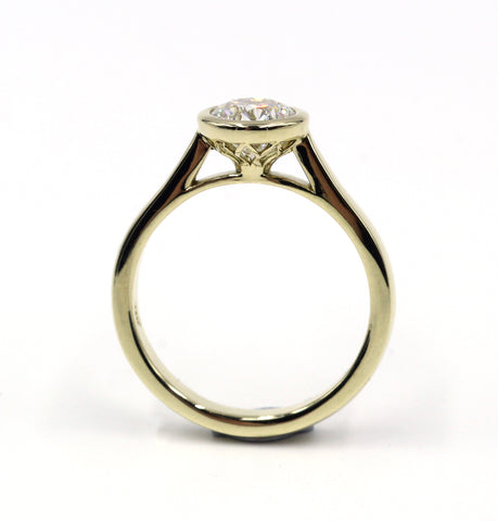 14k Yellow or White Gold  Geometric  Diamond Ring
