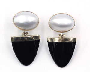 Vintage Mabe Pearl and Onyx Earrings, SUPER SALE