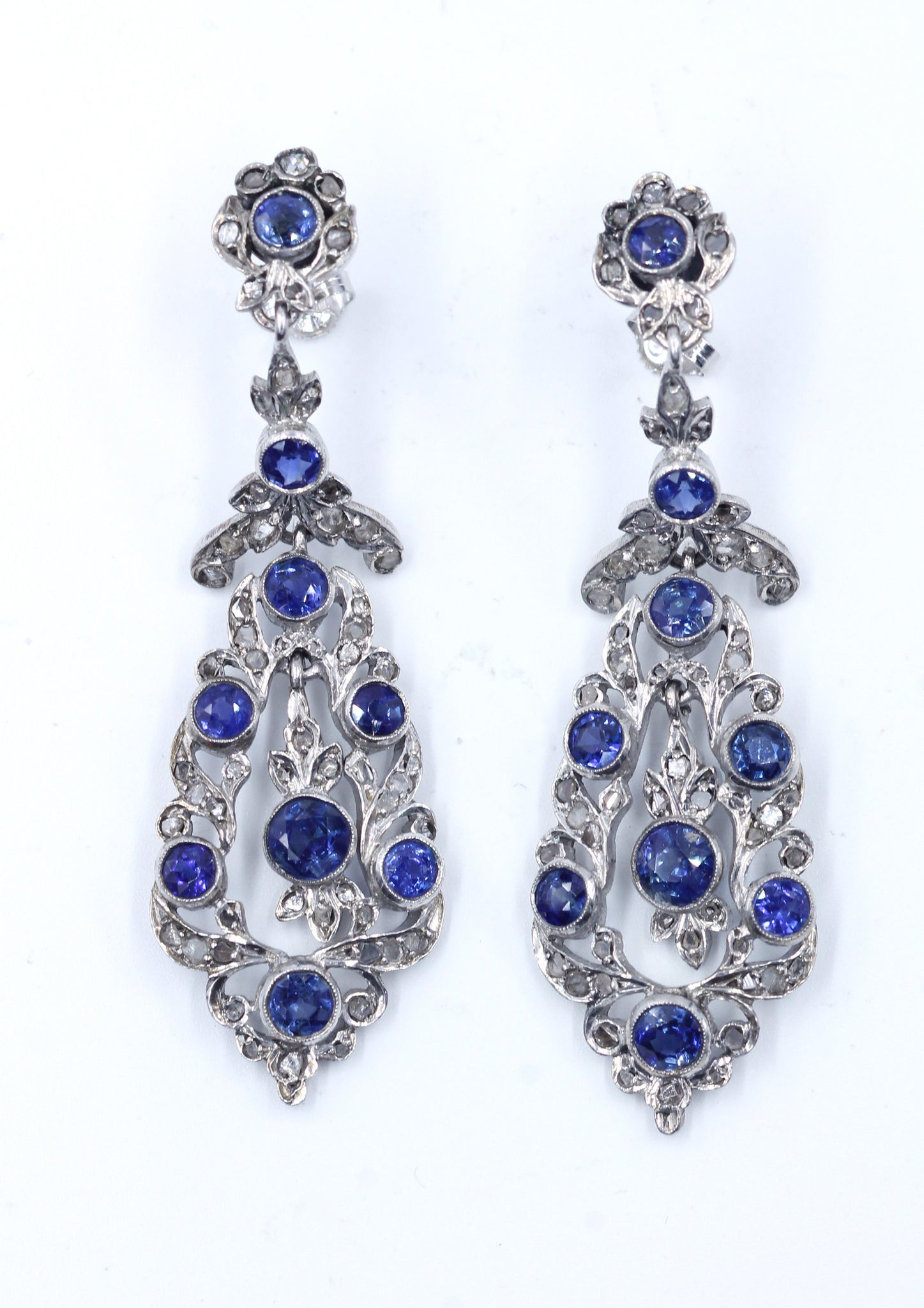 Vintage Diamond and Sapphire Earrings, SOLD