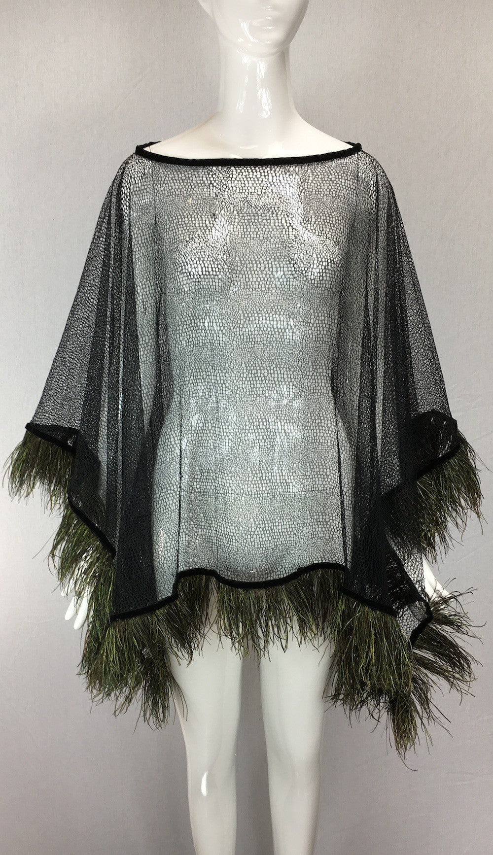 Janet Deleuse Designer Lace and Feather Poncho, SALE, SOLD
