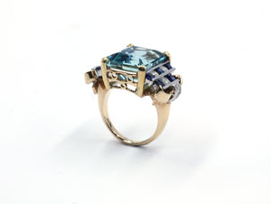 Vintage Aquamarine, Sapphire and Diamond Ring, SOLD
