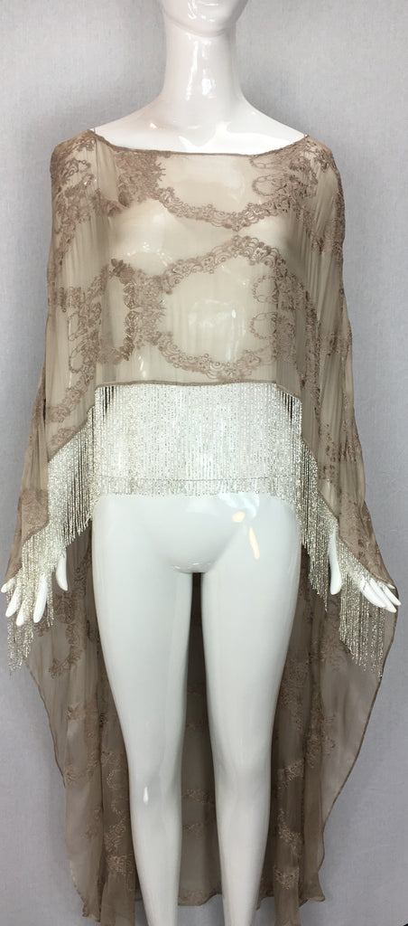 Embroidered Silk Chiffon Cape with Fringe, SALE, SOLD