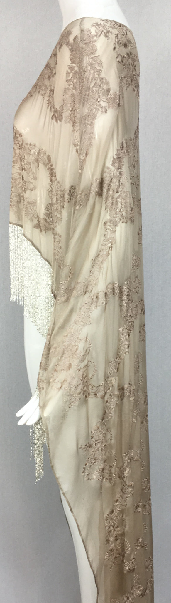Embroidered Silk Chiffon Cape with Fringe