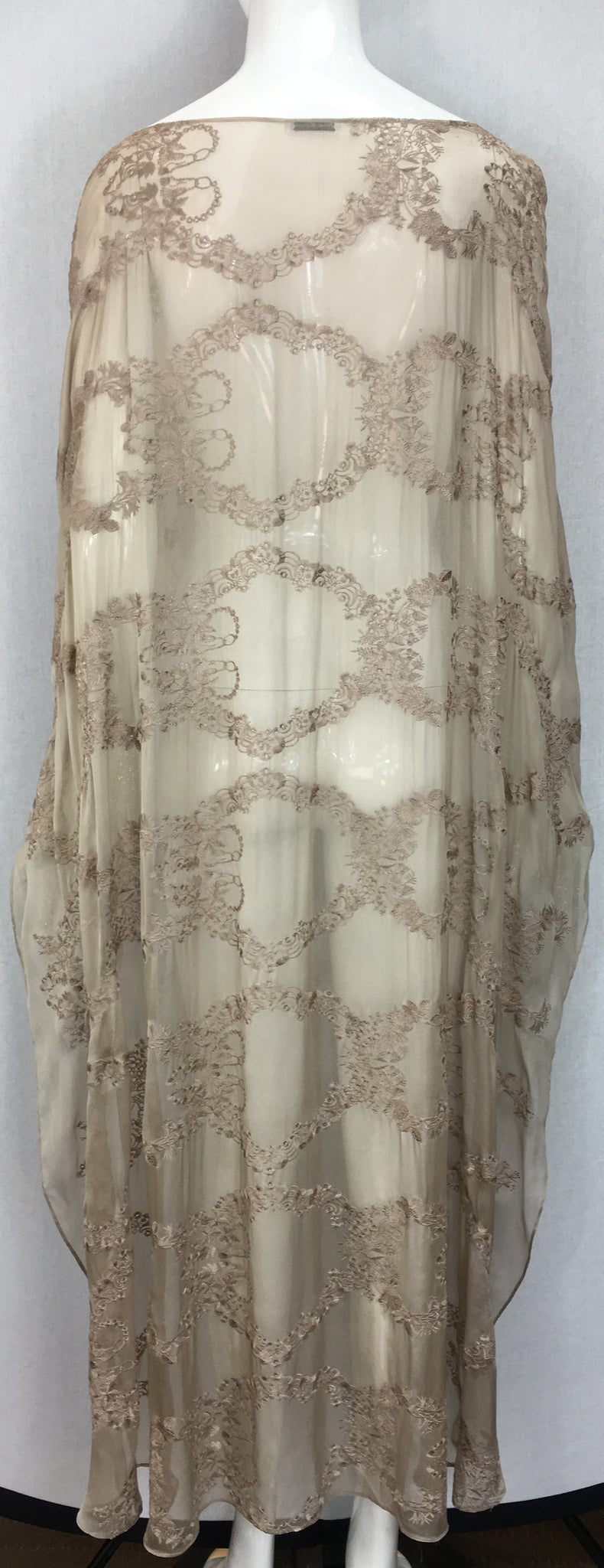 Janet Deleuse Embroidered Silk Chiffon Cape with Fringe, SALE, SOLD